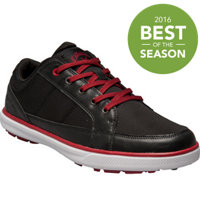 Men's Del Mar Ballistic Spikeless Golf Shoes - Black/Black/Crimson (# M239-02)