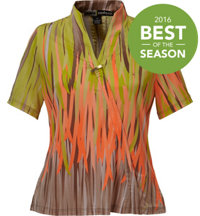 Women's Fringe Print Short Sleeve Mock