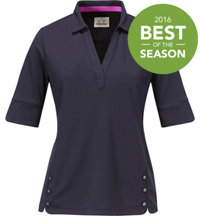 Women's Solid 3/4 Sleeve Polo