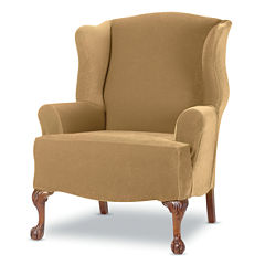 SURE FIT® Stretch Piqué 1-pc. Wing Chair Slipcover