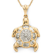 Diamond Turtle Pendant Necklace 1/7 CT. T.W. 10K Gold