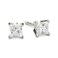 1/2 CT. T.W. Princess-Cut Diamond 14K White Gold Stud Earrings