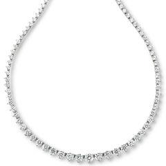 DiamonArt® Sterling Silver Cubic Zirconia Graduated Link Necklace