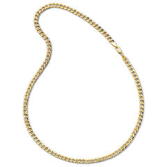Made in Italy Mens 10K Yellow Gold 6mm Semi-Solid Curb Chain Necklace