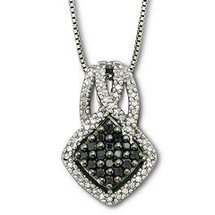 Sterling Silver Color-Enhanced Black Diamond Pendant Necklace
