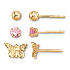 Child's 14K Gold & Pink Cubic Zirconia Stud Set