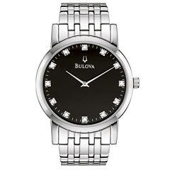 Bulova® Mens Silver-Tone Diamond-Accent Watch 96D106