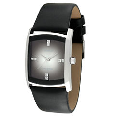 Armitron® Mens Black Leather Gray Degrade Watch