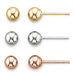 14K Earrings, 3-Pair Tri-Tone Ball Stud Set