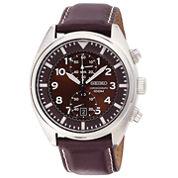 Seiko® Mens Brown Leather Strap Chronograph Watch SNN241