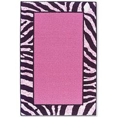 Tween Zebra Bordered Washable Rectangular Rug