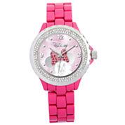 Disney Pink Enamel Crystal Accent Minnie Watch