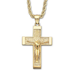 18K/Silver Crucifix Pendant Necklace