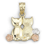 14K Gold Sitting Cats Pendant