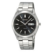 Seiko® Mens Solar Black-Dial Stainless Steel Watch SNE039