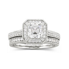 DiamonArt® Sterling Silver Cubic Zirconia Bridal Ring Set