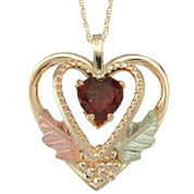 Black Hills Gold Jewelry by Coleman® Garnet Heart Pendant Necklace