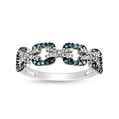3/8 CT. T.W. Color-Enhanced Blue Diamond Ring Sterling Silver