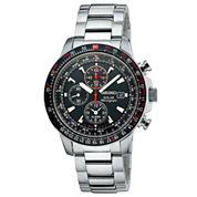 Seiko® Mens Multifunction Silver-Tone Solar Watch SSC007