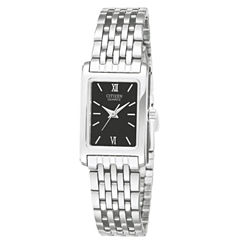 Citizen® Womens Rectangular Black Dial Stainless Steel Bracelet Watch EJ5850-57E