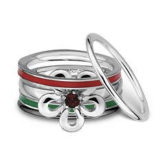Sterling Silver Enamel Stackable Ring