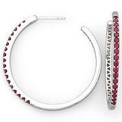 Lab-Created Ruby Hoop Earrings