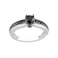 Midnight Black Diamond 1¼ CT. T.W. Black & White Bridal Ring In 10K White Gold