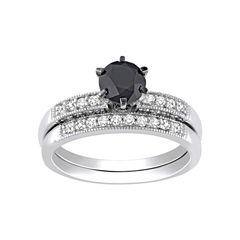 Midnight Black Diamond 1 1/3 CT. T.W. Diamond Bridal Ring Set