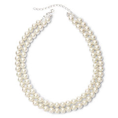 Vieste® Silver-Tone Pearlized Glass Bead 2-Row Necklace