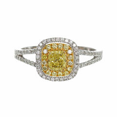 Womens 7/8 CT. T.W. Princess Yellow Diamond 14K Gold Engagement Ring