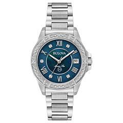Bulova Womens Silver Tone Bracelet Watch-96r215
