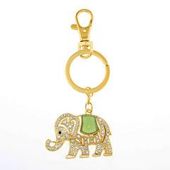 Monet® Gold-Tone & Green Stone Elephant Key Fob