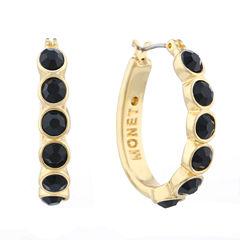 Monet® Gold-Tone Black Hoop Earrings