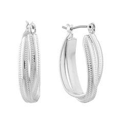 Monet® Silver-Tone Oval 2-Row Hoop Earrings