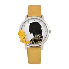 Disney Beauty and the Beast Womens Gold Tone Strap Watch-Bbm5005jc