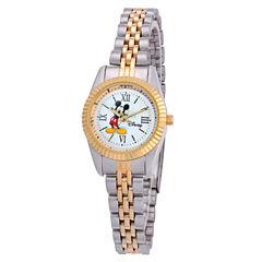 Disney Mickey Mouse Womens Two Tone Bracelet Watch-W001993