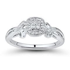 Womens 1/10 CT. T.W. Genuine Round White Diamond 10K Engagement Ring