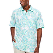 Van Heusen Short Sleeve Oasis Print Button-Front Shirt- Big & Tall