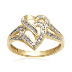1/8 CT. T. W. Diamond 10K Yellow Gold Double-Heart Ring