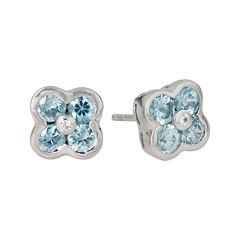 LIMITED QUANTITIES  Genuine Blue Zircon Flower Stud Earrings