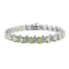 Genuine Peridot and Diamond-Accent Sterling Silver Bracelet