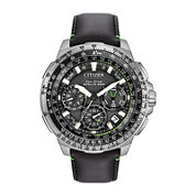 Citizen® Eco-Drive Promaster Navihawk Mens World Time GPS Black Leather Strap Watch CC9030-00E
