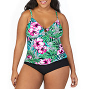 St. John's Bay Hibiscus Panama Palm Ring Front Tankini Swimsuit Top-Plus