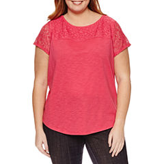 Liz Claiborne Short Sleeve Crew Neck T-Shirt-Womens Plus