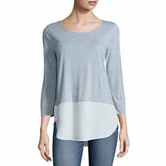 a.n.a 3/4 Sleeve Scoop Neck T-Shirt-Talls