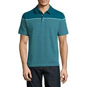 Claiborne Short Sleeve Stripe Polo Shirt