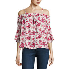 Almost Famous 3/4 Sleeve Floral Blouse-Juniors