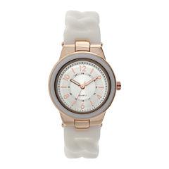 Womens White Braid Strap Watch