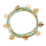 Mixit™ Set of 3 Gold-Tone Leaf Bead Stretch Bracelets