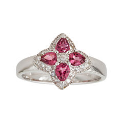 LIMITED QUANTITIES  Genuine Pink Tourmaline Sterling Silver Flower Ring